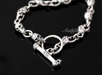 Mens Sterling Silver Bracelet Solid Skull Chain Hip Hop Biker Beach wear b12 image 3