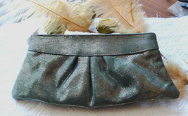 Lauren Merkin Metallic Lizard Embossed Light Blue Silver Clutch Bag - $90.56 CAD