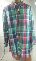 CHAPS Plaid Shirt Long Sleeve Big & Tall Red White Blue Free Ship 2XB BIN 17 - $18.69
