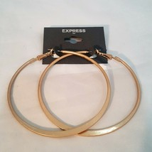 EXPRESS LARGE MATTE GOLD PLATED HOOP EARRINGS - $7.00