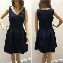 Taylor Fit and Flare Jacquard Dress Womens Size 10 Navy Blue Sleeveless NEW - $39.95