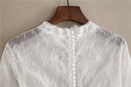 White 3/4 Sleeve Short Lace Tops Bridal Bridesmaid Shirts Boho wedding Lace Tops image 7