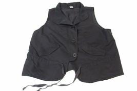 W13080 Womens Old Navy Black Button Up Adjustable Tied Waist Vest Medium - $5.95