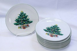 "GEI Xmas Tree Salad Dessert Plates 7.125"" Lot of 8 - $39.19"