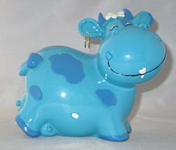 Cow Bank Blue Hearts Earrings Udder Farm Animals Bow New Savings Coins  - $10.88
