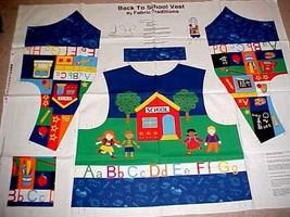 Teacher School Vest Fabric Panel Cotton Fabric Traditions Cut & Sew ADUL... - $29.03