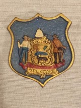 Vintage Delaware State Seal Crest Shield Plaque Hand Painted Cast Iron M... - $70.11