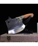 Cleaver Vintage High Quality Knife Axe Shaped Spring Steel Large Chef Bu... - $109.09