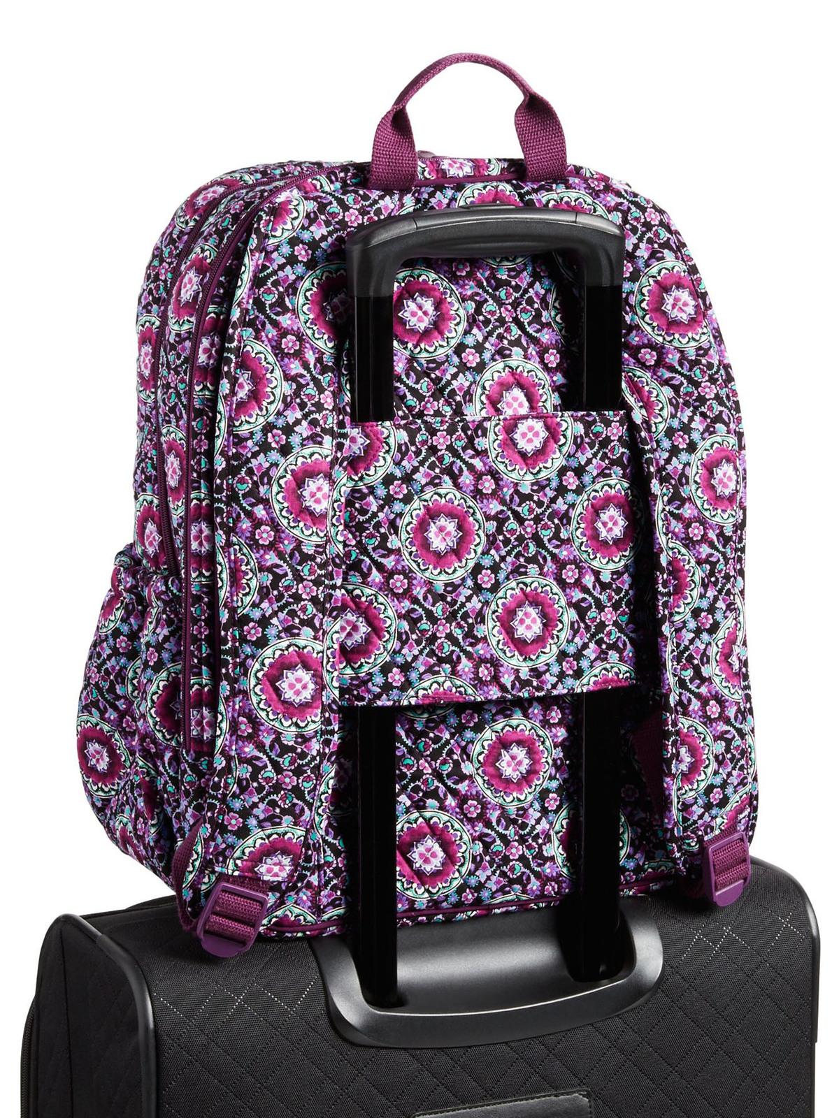 Vera Bradley Signature Cotton Campus Tech Backpack, Lilac Medallion image 6