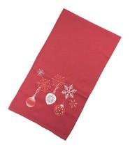 Noël Brodé Boules Flocons de Neige Rouge Chemin de Table 40X140CM - $21.82