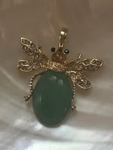 Estate Green Oval Stone Jelly Belly Beetle Bug Insect with Clear Rhinestone Acce image 4