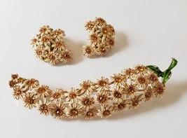 Lovely Vintage Enamel Painted Daisy Flowers w Rhinestones Brooch Earring... - $89.09