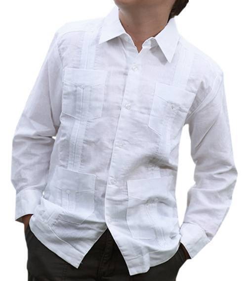 New Toddler Boy's Kids Junior Guayabera Wedding Baptism Long Sleeve Shirt White