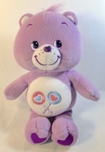 2002 Care Bears SHARE BEAR Purple Plush Lollipop Hearts EUC! - $8.56