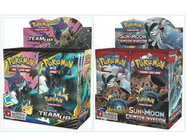 Pokemon TCG Sun & Moon Team Up + Crimson Invasion Booster Box Bundle image 1