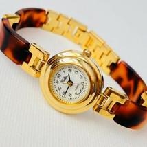 Vintage Golden Womens MOP Dial Acrylic Tortoise Shell Bracelet Watch Wor... - $27.67