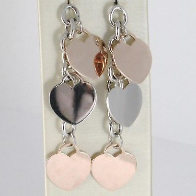 925 STERLING ROSE SILVER PENDANT EARRINGS ALTERNATE FLAT HEARTS 2.4 INCHES LONG
