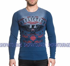AFFLICTION Tried Eagle A16862 New Long Sleeve Graphic Blue Thermal Top F... - $57.89