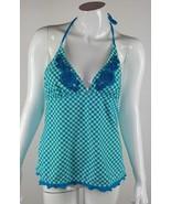 Candie's Swim Womens Size XL Turquoise White Checkered Swimwear Tankini ... - $7.69