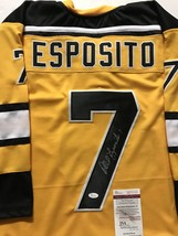 Autographed/Signed Phil Esposito Boston Yellow Hockey Jersey Jsa Coa Auto - $124.99