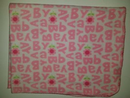 Carter's Child of Mine Pink Flowers Fleece Baby Blanket Security Letters White - $24.70