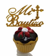 "3 pcs Mi Bautizo signs gold sparkle acrylic 5"" x 2.5"" cake top pick - $8.90"