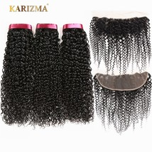 Karizma Brazilian Kinky Curly Hair Bundles With Frontal 13X4 Lace Closure 3 Bund - $267.10