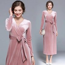 Autumn and winter new V-neck long-sleeved self-cultivation with velvet dress - $99.00