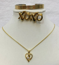 Goldtone Brooch Pin XOXO Magnetic Cuff Bracelet & Heart Pendant Lot of 3  - $18.76