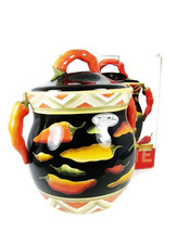 Clay Art Biscuit Cookies Ceramic Jar Green Yellow Red Chillies Handpaint... - $69.29