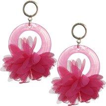 Pink Chiffon Open Circle Drop Earrings - $12.99