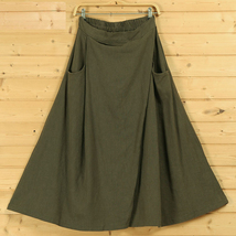 Women A Line Linen Skirt Ankle Length Linen Cotton Casual Skirt,Army Green Navy  image 6