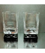 2 (Two) VINTAGE DI SARONNO CLEAR & BLACK Square Foot Cocktail Glasses-No... - $18.99