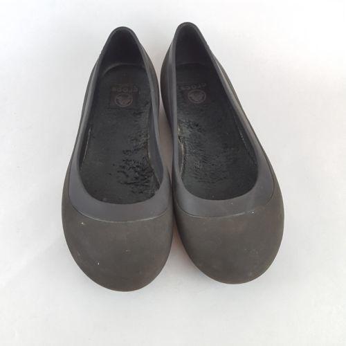 Crocs Mammoth Ballet Flats Black Slip On Shoes Faux Fur Lined Sole 8M
