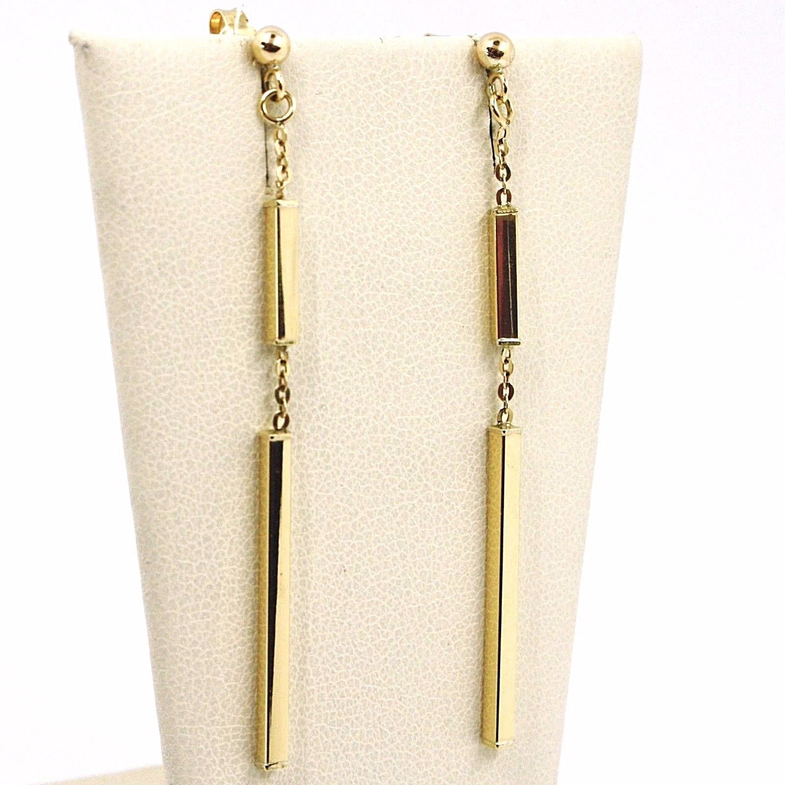 DROP EARRINGS YELLOW GOLD 750 18K, TUBES CHAIN ALTERNATING, ITALY MADE