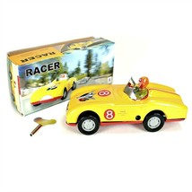 TIN TOY RACE CAR Collectible Classic Wind Up Yellow Racer w Rider Vintag... - $16.88