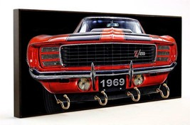 1969 Red Chevrolet Z28 Camaro Wood 4 Key Hanger Holder Usa Made - $37.99