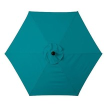 Teal Blue 6 Foot Deluxe Patio Umbrella Crank Tilt White or Bronze Frame - $160.18 CAD