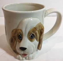Vntg. 1988 3D Puppy Mug OC Omnibus Country Made in Japan White Embossed ... - $18.80
