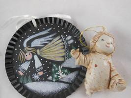 "Vtg Macau Angel And Hand Painted Tin Christmas Ornamen Ts 2.5"" To 3.5"" - $6.92"
