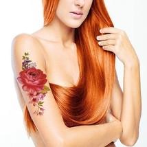 TAFLY Red Peony Flower Body Art Temporary Tattoo Transfer Sticker 5 Sheets - $11.11