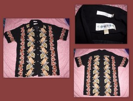 CAMPIA MODA Floral Pineapple Black Hawaiian Button Front Camp Shirt Sz M... - $11.87