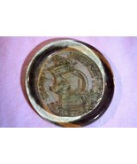 Green Depression Glass Jamestown Virginia Coaster Advertising Piece - $14.39