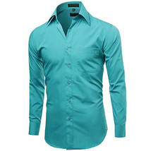 Omega Italy Men's Turquoise Dress Shirt Long Sleeve Solid Color Regular Fit - M image 2