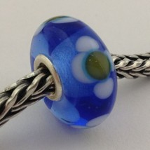 Authentic Trollbeads Ooak Murano Glass Unique Blue W/ Flower Bead Charm, New - $28.49