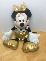 Disney Minnie Mouse Dot Couture Plush Pillow Buddy Golden Bow Shoes Skir... - $15.67