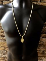 "Mens 14K GP Gold Hip Hop Hamsa Hand of Miriam Pendant Necklace 30"" Rope ... - $7.69"