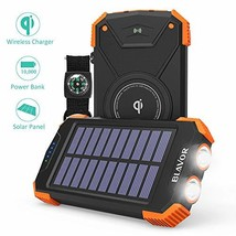 Solar Power Bank, Qi Wireless Charger 10,000mAh External Battery Pack Ty... - €37,03 EUR