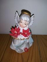 Vintage Lefton Japan December Angel Figurine w/Poinsettia Flowers 3332 Christmas - $37.99