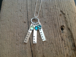 Personalized Jewelry Mom's Necklace Three Kids birthstone pendant Triplets - $45.00